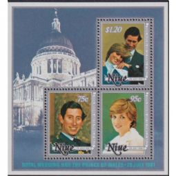 Niue Stamps 1981 G MS433 Royal Wedding, Prince Charles and Lady Diana Spencer miniature sheet